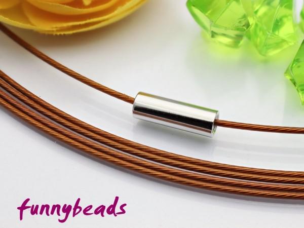 1 Halsreifen Edelstahl sattelbraun 1 mm mit glattem Drehverschluss