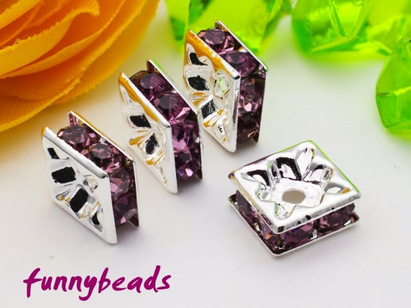 Strassquadrat silberfarben light amethyst 8 x 8 mm