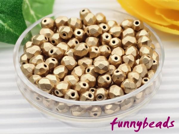 100 Glasschliffperlen matte metallic flax 4 mm