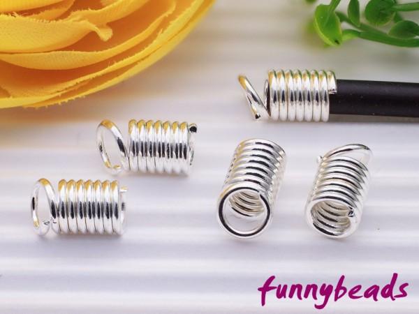 4 Spiralendkappen silberfarben für 3 mm Bänder