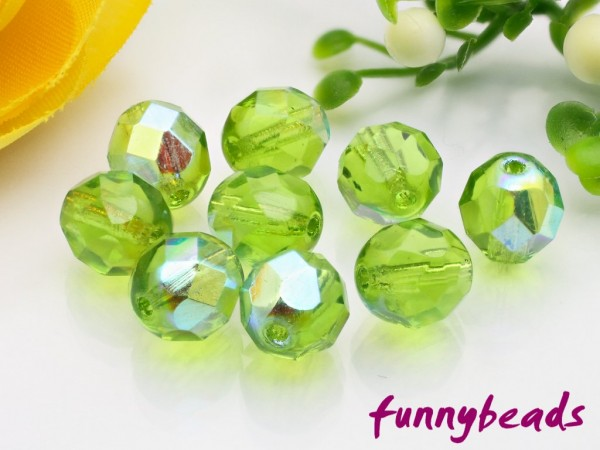 20 Glasschliffperlen olivine AB 8 mm