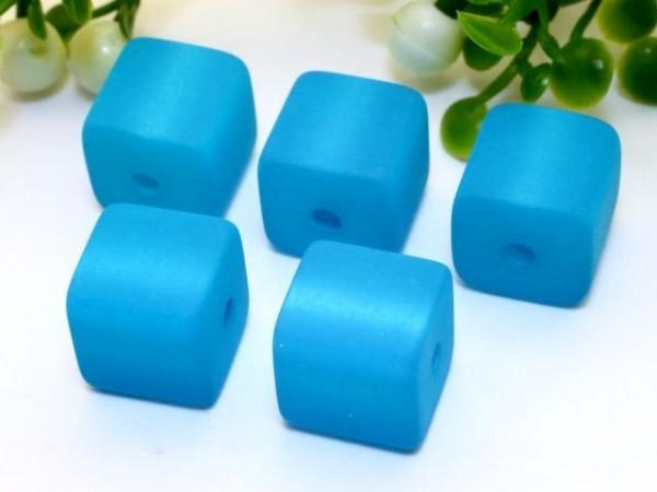 Polarisperle Würfel 4 x 4 mm türkisblau