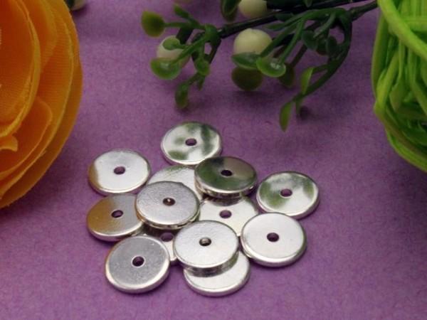 1 Spacer Scheibe Metall versilbert 10 mm