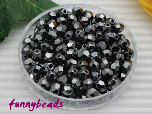 100 Glasschliffperlen hematite 4 mm