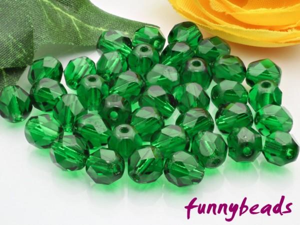 50 Glasschliffperlen green emerald 6 mm