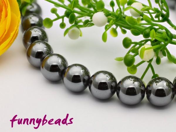 10 synth. Hämatit Perlen 10 mm