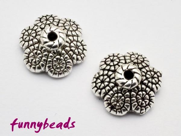 Perlenkappe Blütenblatt antiksilber 12 mm