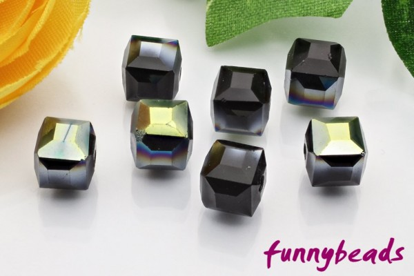 20 Glaswürfel facettiert half rainbow plated black 6 x 6 mm