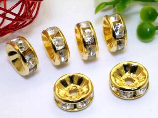 Strassrondell goldfarben crystal 10 mm