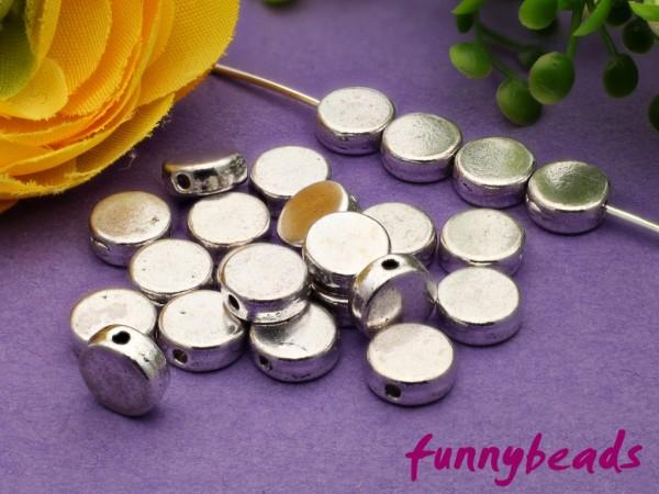 20 Metallperlen flach rund Tibet Silber 7 mm