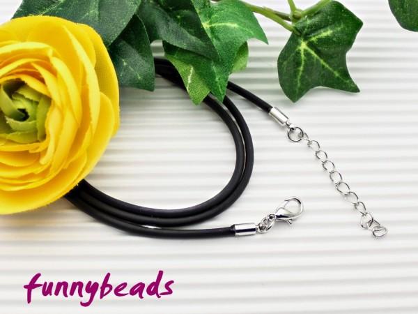 1 Kautschukband Halsband schwarz 1,5 mm