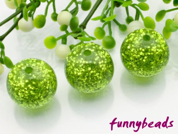 Polarisperle rund Glitzer 14 mm grün