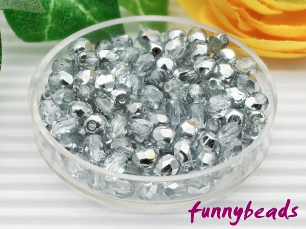 100 Glasschliffperlen crystal 1/2 coated silver 4 mm