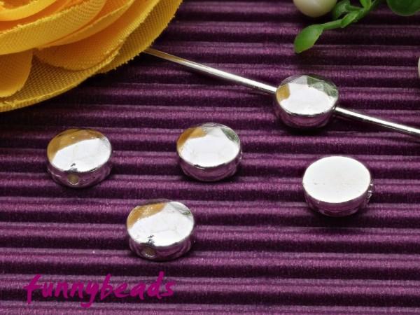 20 Metallperlen flach rund alt silberfarben 6 mm