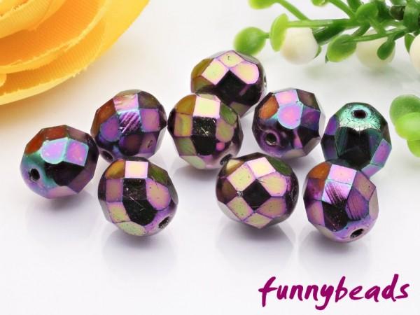 20 Glasschliffperlen iris purple 8 mm