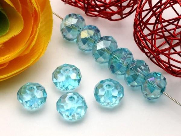 10 Glasschliffperlen Rondelle himmelblau AB 8 x 6 mm
