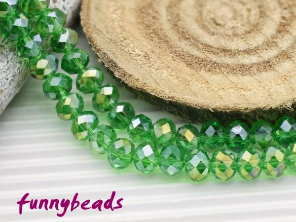30 Glasschliffperlen Rondelle lindgrün AB 4 x 3 mm
