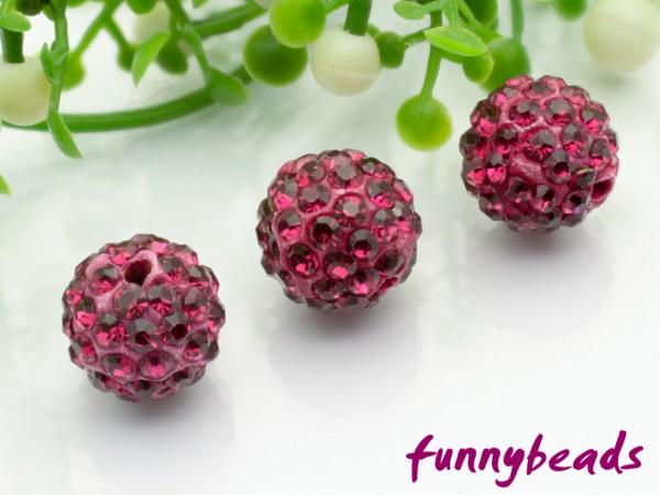 Shamballa Perle 10 mm fuchsia