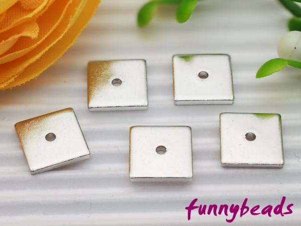 1 Spacer Quadrat Metall flach platinfarben 8 x 8 mm