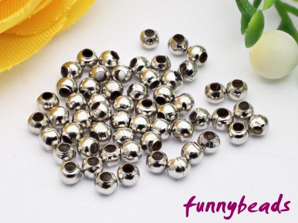 80 Metallperlen hohl platinfarben 2,4 mm