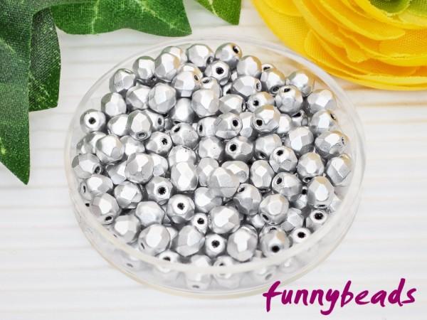 100 Glasschliffperlen matte metallic aluminum 4 mm