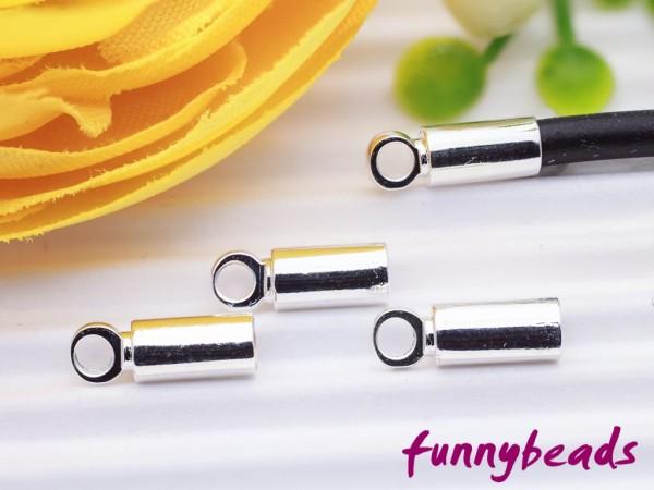 4 Endkappen silberfarben für 2 mm Bänder