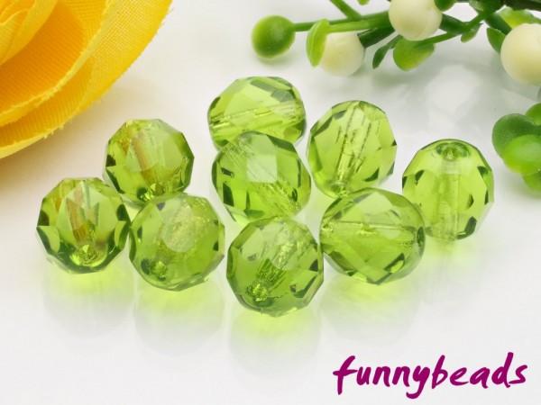 20 Glasschliffperlen olivine 8 mm