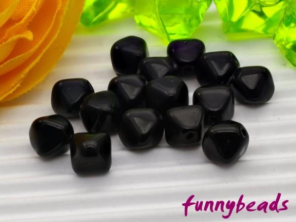 50 Glasperlen Doppelpyramide schwarz 6 mm