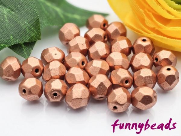 50 Glasschliffperlen matte metallic copper 6 mm