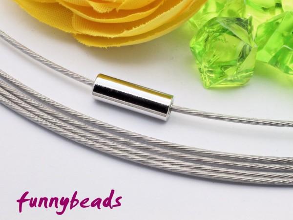 1 Halsreifen Edelstahl silberfarben 1 mm mit glattem Drehverschluss