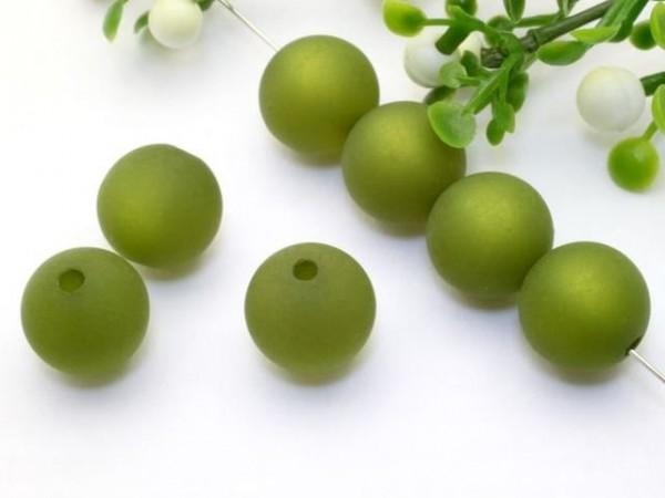 Polarisperle 14 mm rund olivgrün
