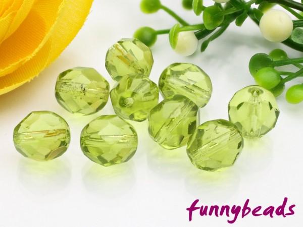 20 Glasschliffperlen light olivine 8 mm