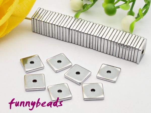 30 synth. Hämatit Quadrat Scheiben 6 x 6 mm silber metallic - 2. Wahl