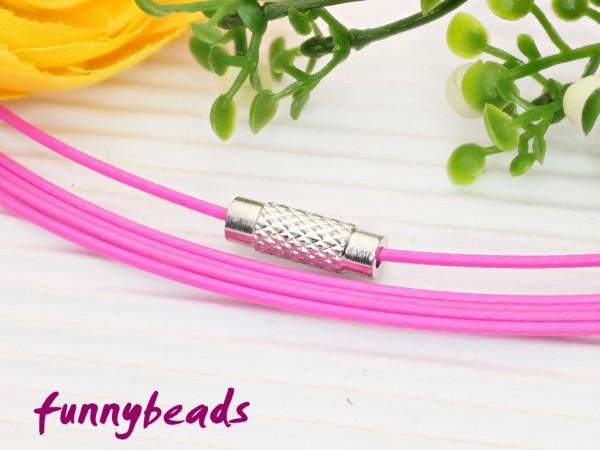 1 Halsreifen Edelstahl rosa 1 mm