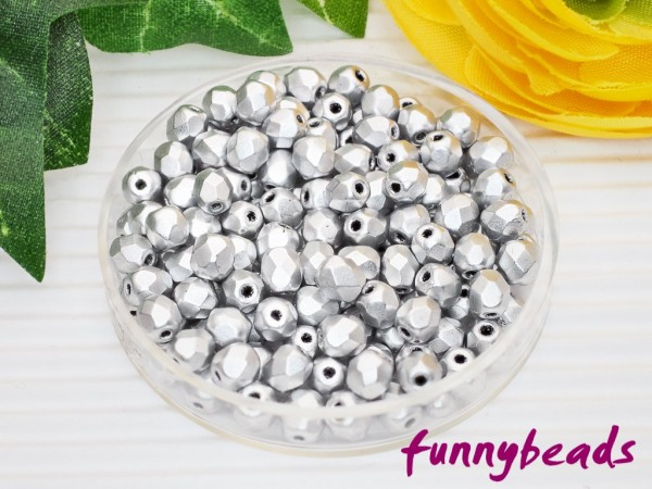 100 Glasschliffperlen matte metallic aluminum 3 mm