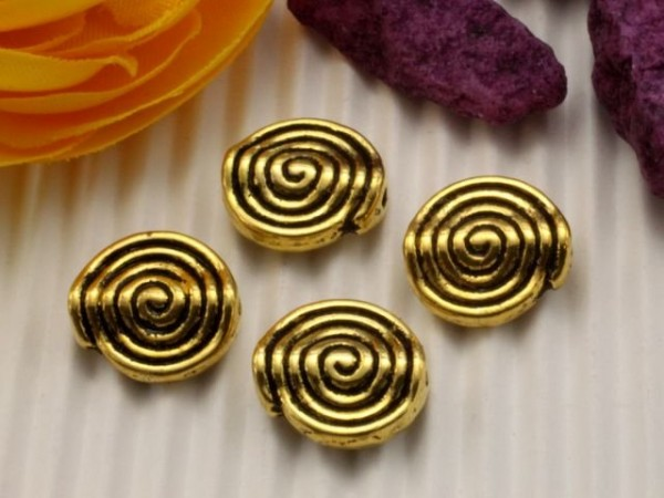 10 Metallperlen Schnecke goldfarben 11 mm