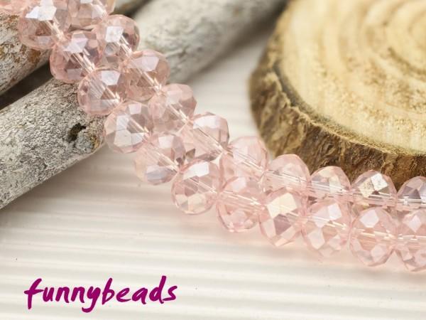 10 Glasschliffperlen Rondelle rosa Perlglanz 8 x 6 mm