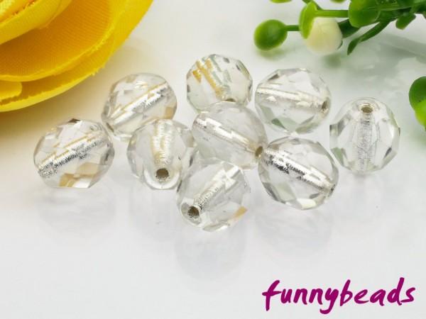 20 Glasschliffperlen silver lined crystal 8 mm