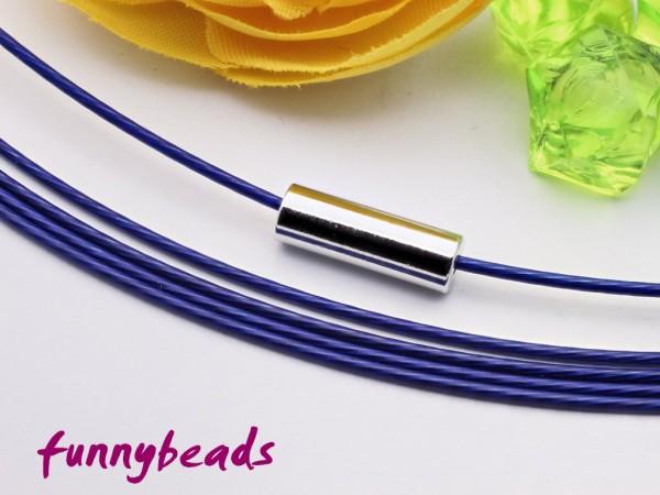1 Halsreifen Edelstahl dunkelblau 1 mm mit glattem Drehverschluss
