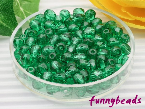 100 Glasschliffperlen see green 4 mm