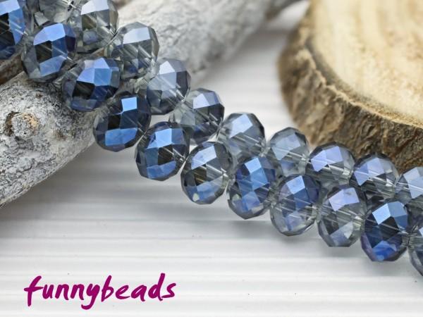 10 Glasschliffperlen Rondelle kristall blau metallic 8 x 6 mm