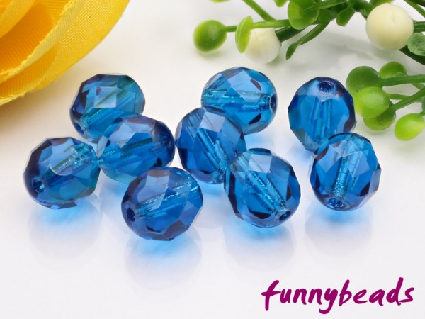 20 Glasschliffperlen capri blue 8 mm