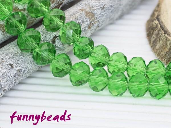 10 Glasschliffperlen Rondelle hellgrün 8 x 6 mm
