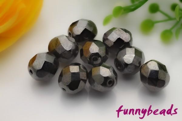 20 Glasschliffperlen jet hematite 8 mm