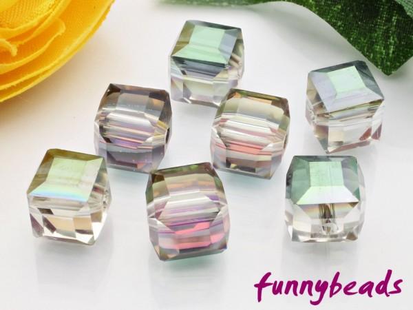 10 Glaswürfel facettiert clear half plated green 8 x 8 mm