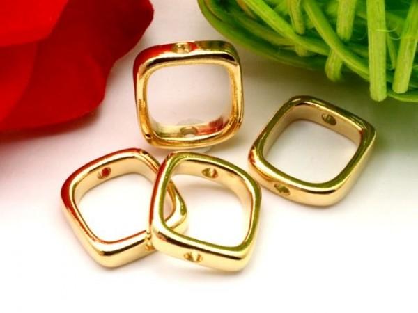 5 Metall Quadrate abgerundet 14 mm goldfarben