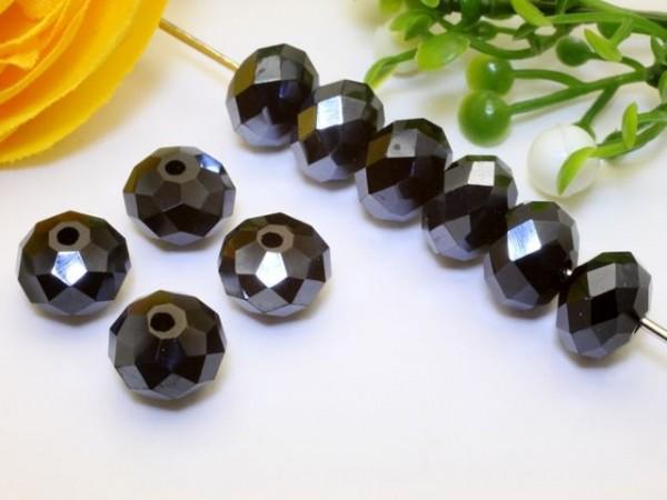 10 Glasschliffperlen Rondelle schwarz Perlglanz 8 x 6 mm - 2. Wahl