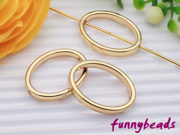 3 Metall Ovale 20 mm goldfarben