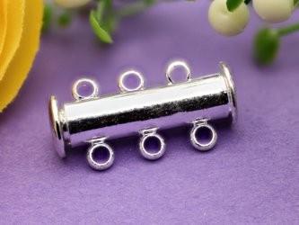Magnetschiebeverschluss dreireihig silberfarben 20 mm