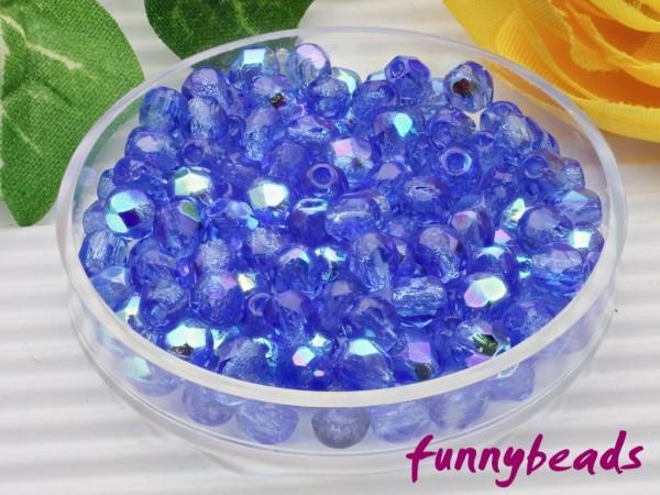 100 Glasschliffperlen sapphire AB 4 mm